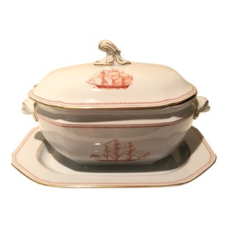 1960s Trade Winds Red & Gold Trim Soup Tureen and Platter Dinnerware by Spode - Set of 3 For Sale