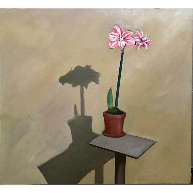 """1980s 1980s """"Amaryllis"""" Jimmy Lueders Large Oil on Canvas Painting For Sale - Image 5 of 5"""