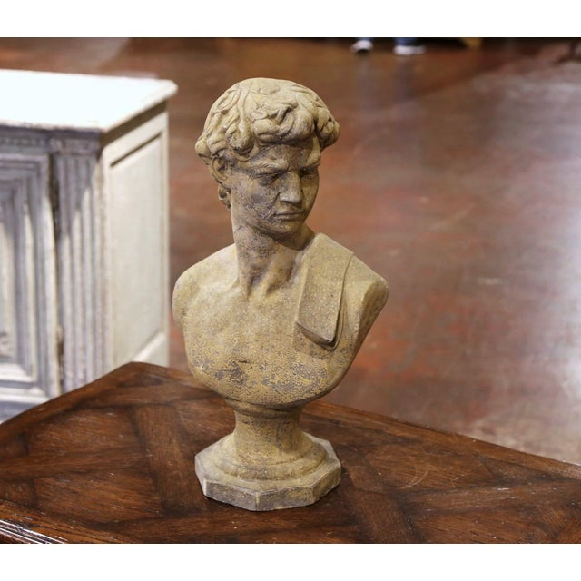 Midcentury French Outdoor Weathered Cast Stone Statuary Roman Bust For Sale - Image 10 of 10
