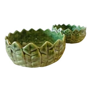 Vintage Mid 19th Century Portuguese Green Leaf Ceramic Dishes - Set of 2 For Sale