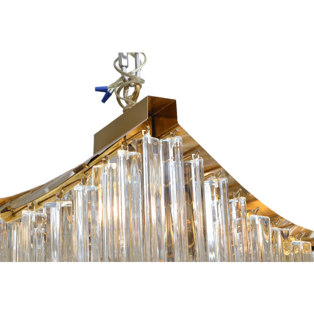Pagoda Chandelier in Crystal and Brass For Sale - Image 9 of 13