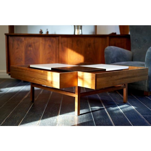 1950s Coffee Table Designed by John Keal for Brown Saltman Checked Surface Lifts to Reveal Storage Circa 1950s For Sale - Image 5 of 10