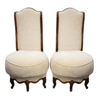 French Provincial Paris Apartment Pouf Seat Side Chairs - a Pair For Sale