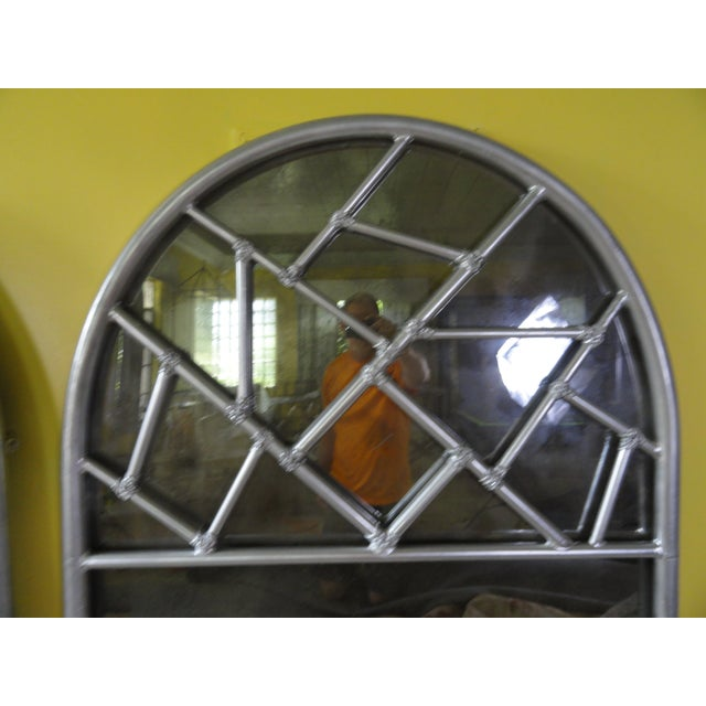 """Cracked ice metal mirror with antiqued mirror and silver paint finish. Large scale, 60"""" high. Heavy"""