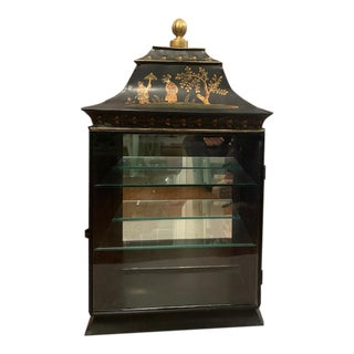 Vintage Chinoiserie Black Tole Vitrine Wall Curio Cabinet by Sarreid For Sale