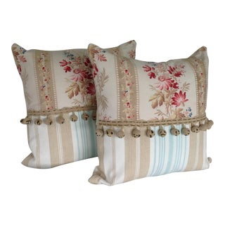 19th Century French Floral & Linen Ticking Stripe Pillows With Pom-Poms - a Pair For Sale