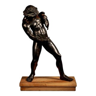 Large Italian patinated Bronze sculpture of a youthful Bacchus, late 19th century