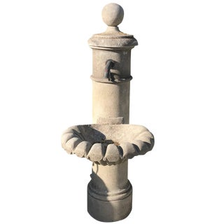 20th Century Provencal Hand-Carved Limestone Garden Fountain For Sale