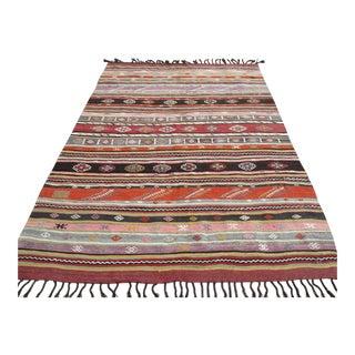 "Vintage Turkish Striped Handmade Tribal Kilim Rug-5'6'x8'1"" For Sale"