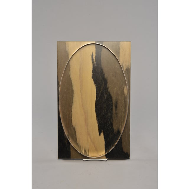 1990s Hand Stained Wood Tray With Metal Oval Insert For Sale - Image 5 of 8