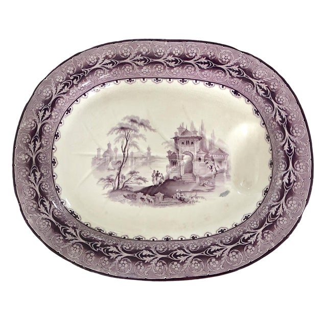 19th C. English Large Well & Tree Staffordshire Platter For Sale