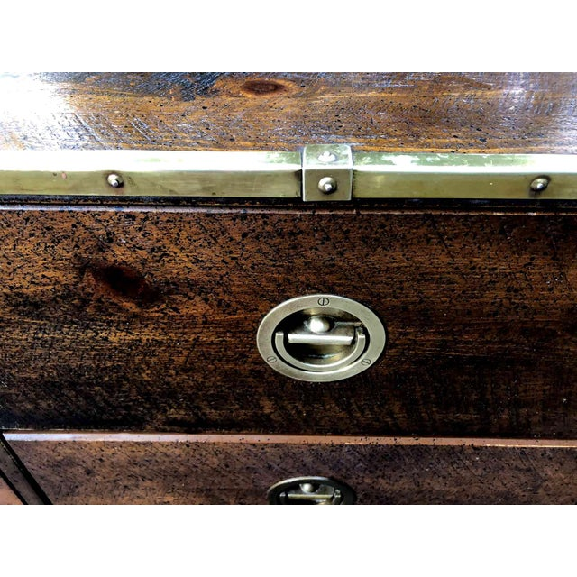 Bassett Mid Century Bassett Furniture Nautical Campaign Chest With Brass Trim For Sale - Image 4 of 10
