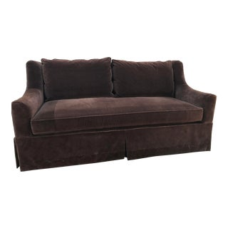 Hickory Chair Chocolate Brown Velvet Sofa For Sale
