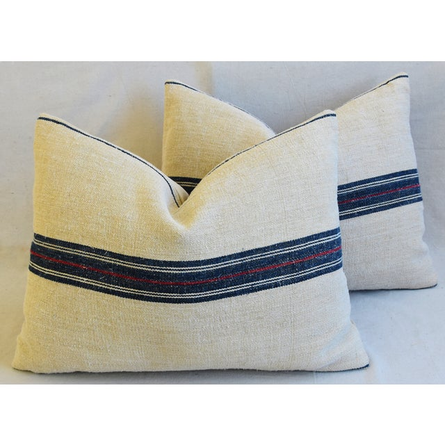 "French Woven Blue & Red Striped Grain Sack Feather/Down Pillows 24"" X 18"" - Pair For Sale - Image 12 of 13"