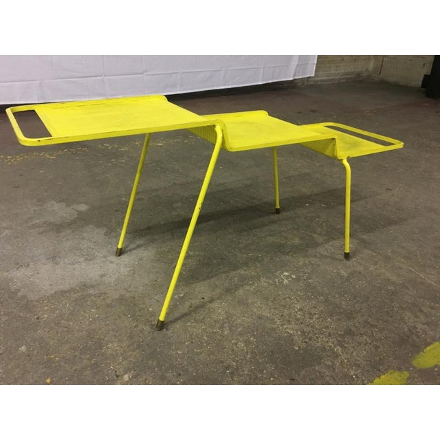 Mathieu Matégot Mathieu Mategot Coffee Table in Yellow Painted Iron and Rigitule For Sale - Image 4 of 8