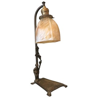 1930s Art Deco Brass and Stain Glass Table Lamp For Sale