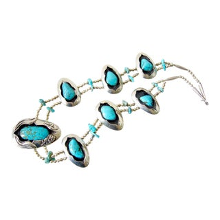 Native American Silver + Turquoise Navajo Squash Blossom Necklace For Sale
