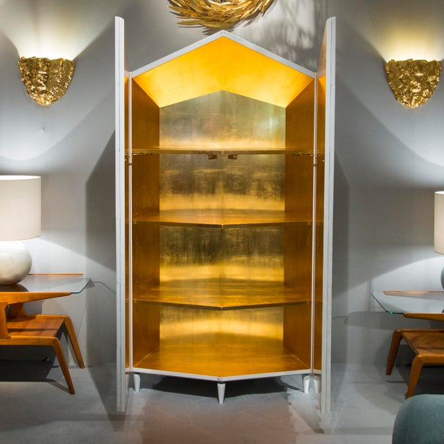 "Roberto Giulio Rida (1943) ""Domus Aurea"" Cabinet made of opalin Italian glass, wood gold leafed inside Unique piece..."