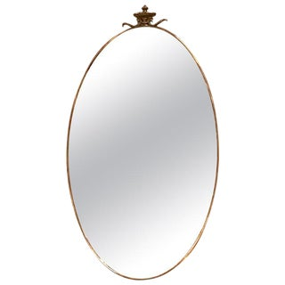 Midcentury Italian Oval Shape Mirror, 1950s For Sale