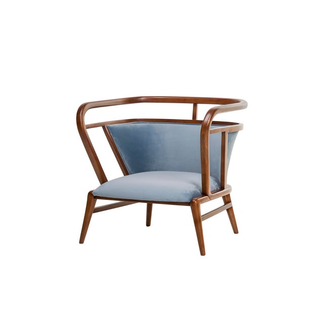 Contemporary Contemporary Empire Collection Mid Century Scandinavian Walnut Lounge Chair For Sale - Image 3 of 6