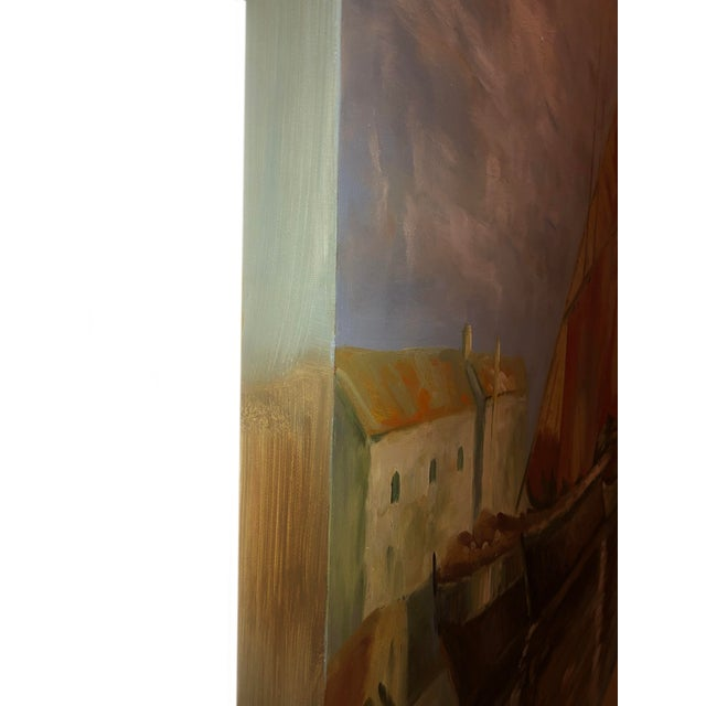 Sailboats Off the Coastline Painting Mid Century France For Sale - Image 4 of 7