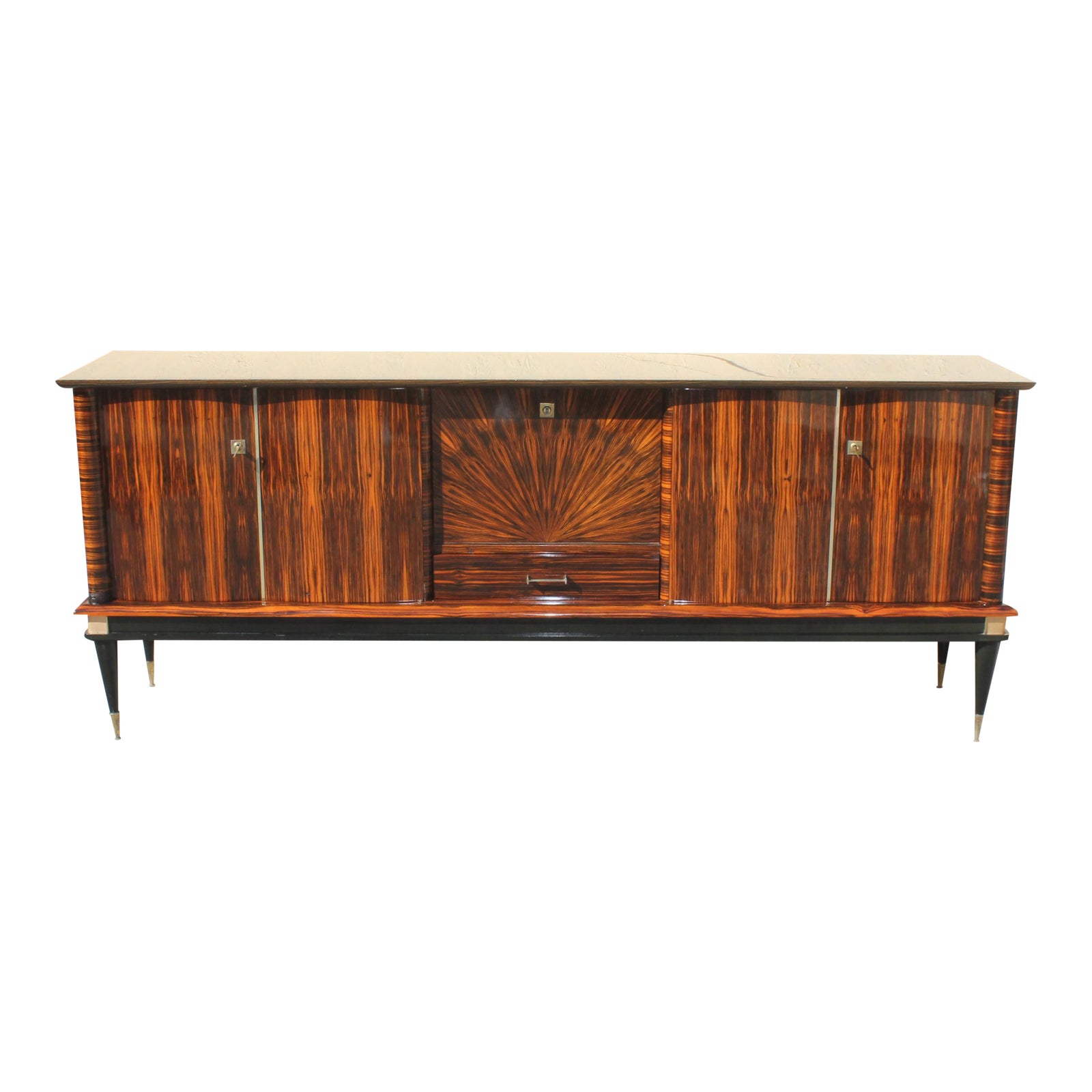 Masterpiece French Art Deco Macassar Ebony Sunburst Sideboard Buffet, Circa