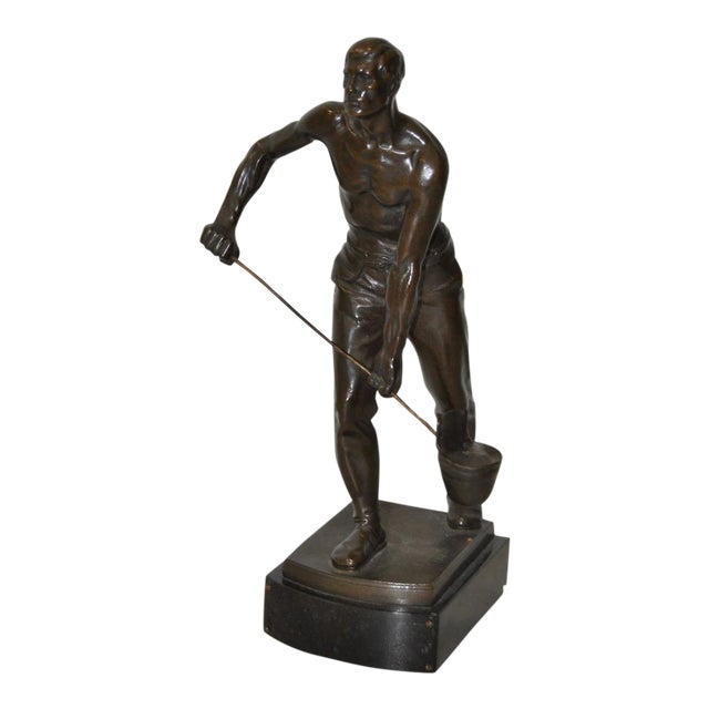 """Early 20th Century Bronze Sculpture """"Foundry Worker"""" by Gerhard Janensch C.1918 For Sale"""