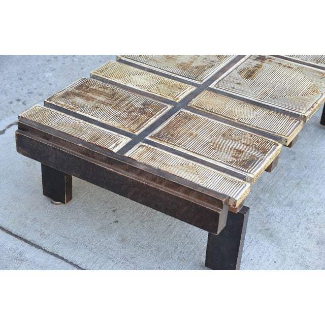 1950s Rare Signed Ceramic Coffee Table by Roger Capron For Sale - Image 5 of 8