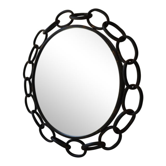 Metal Chain Link Circle Mirror - Image 1 of 4