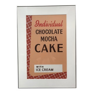 1940s Vintage Original Mocha Cake Restaurant Art Sign For Sale