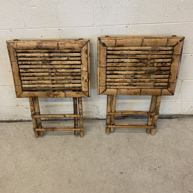 Vintage Burnt Bamboo Folding Tray Tables- a Pair For Sale - Image 12 of 13