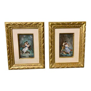 Lovers With Musical Instruments Prints, Framed - a Pair For Sale