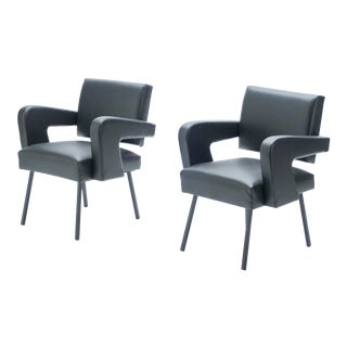 "1950s Jacques Adnet ""President"" Leatherette Armchairs - a Pair For Sale"