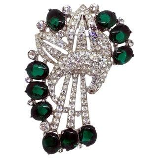 1930s Coro Emerald Green Cabochon & Rhinestone Brooch/Clip For Sale
