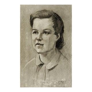 1955 Charcoal Portrait Drawing of Geneva