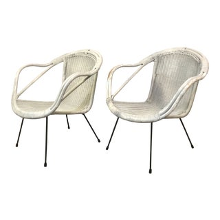 Pair of Mid-Century Modern Rattan Calif-Asia Armchairs For Sale