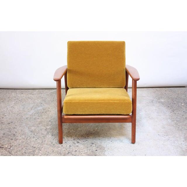Danish Modern Danish Modern Reclining Lounge Chair in Ochre Mohair For Sale - Image 3 of 13