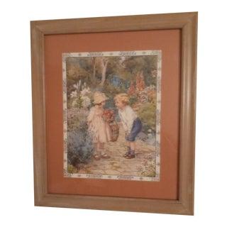 "1980s ""Children in Garden"" Figurative Reproduction Print After Margaret W. Tarrant, Framed For Sale"