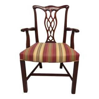 Hickory Chair Solid Mahogany Chippendale Straight Leg Dining Captain's Armchair For Sale