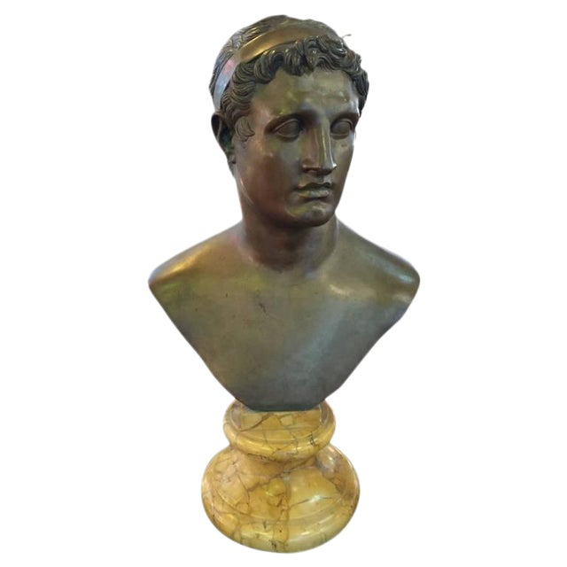 1906 Cesar Sab De Angelis Fils Naples Bronze Bust For Sale