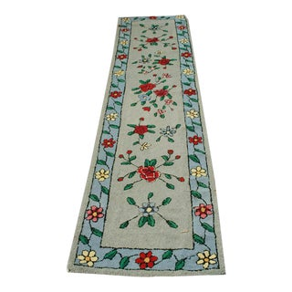 "1930s Antique American Floral Rug-2'2'x9'10"" For Sale"