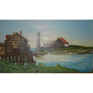 Vintage Waterfront Scene Landscpe Painting Harbor For Sale