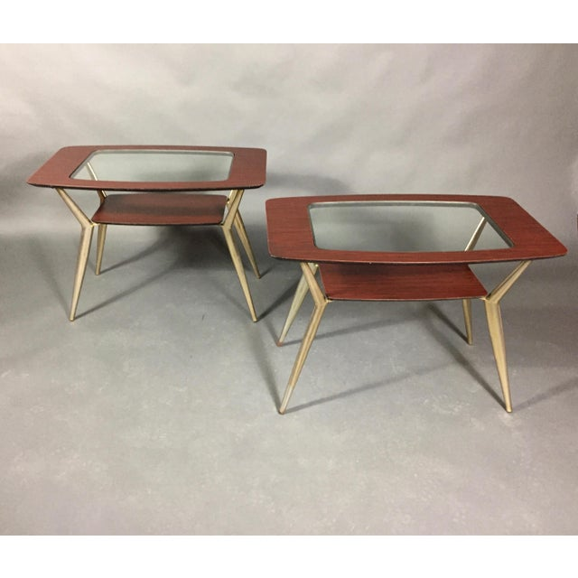 Pair of Atomic Metal and Glass Side Tables, Usa, 1970 For Sale - Image 10 of 10