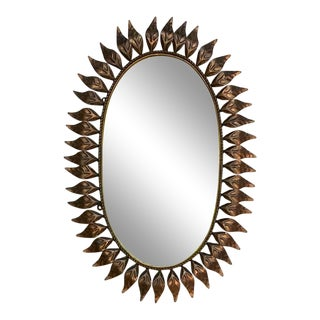 Oval Sunburst Mirror With Antique Copper Finish For Sale