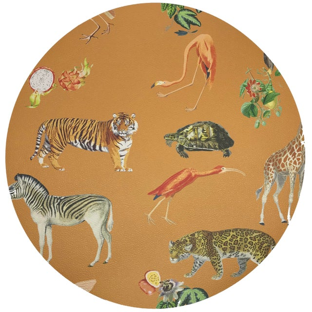 """Contemporary Nicolette Mayer Exotix Tangerine 16"""" Round Pebble Placemat For Sale - Image 3 of 3"""
