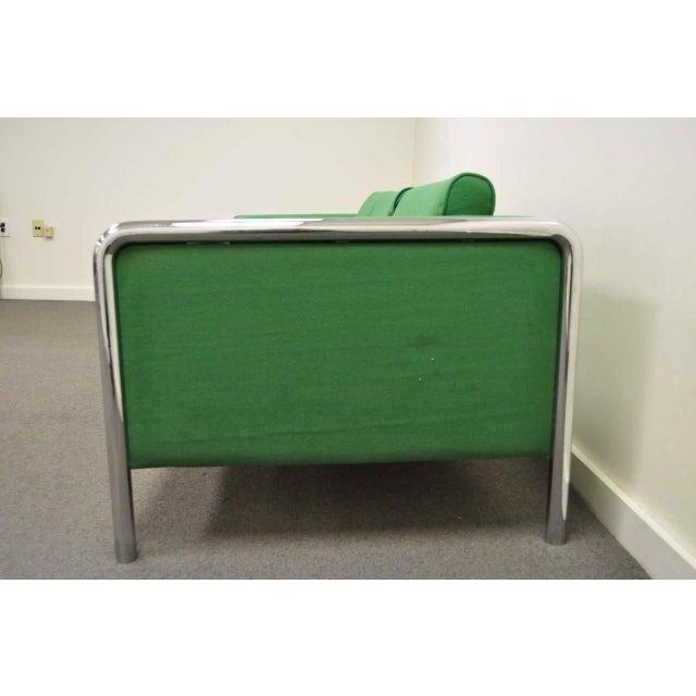 Mid-Century Modern Mid Century Modern Milo Baughman Style Tubular Chrome Frame Green 3 Seat Sofa For Sale - Image 3 of 10