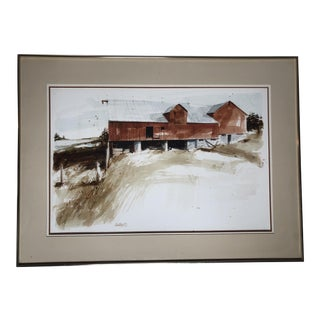 "Late 20th Century ""Durham County Barn"" Watercolor by Walling For Sale"