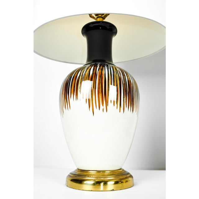Italian Vintage Porcelain Brass Base Table Lamps - A Pair For Sale - Image 3 of 11