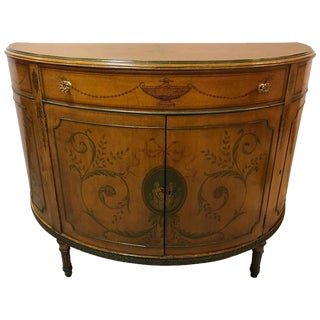 Adams Style Paint Decorated Demi Lune Commode or Chest For Sale