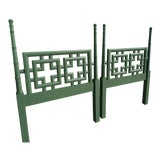 Image of 1960s Chinoiserie Palm Beach Green Twin Headboards - Pair For Sale